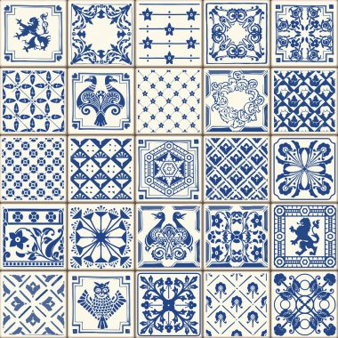 Indigo Blue Tiles Floor Ornament Collection. Gorgeous Seamless Patchwork Pattern from Colorful Traditional Painted Tin Glazed Ceramic Tilework Vintage Illustration. For web page template background stock vector