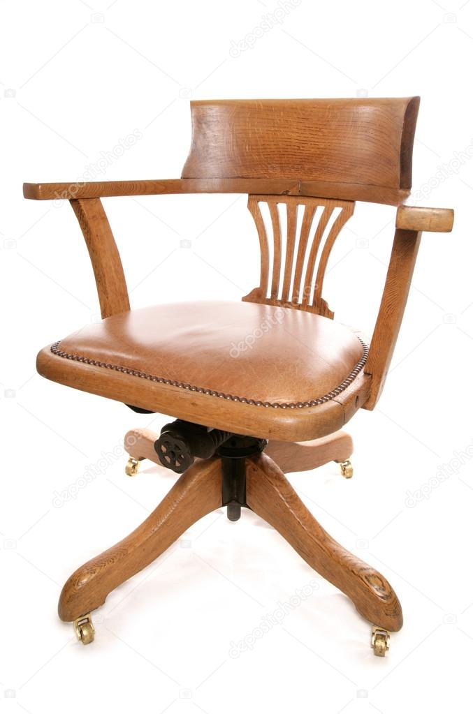 Vintage Oak Captains Chair U2014 Stock Photo