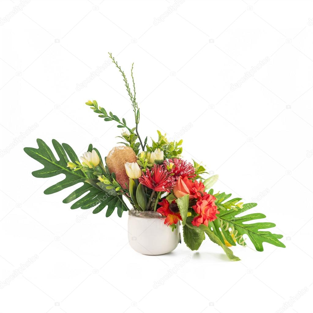 Artificial Flowers In White Vase On Isolated Background Stock