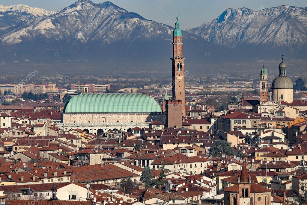 Vicenza, Italy, Panorama of the city with Basilica Palladiana an ...