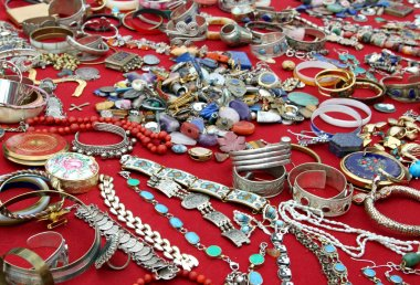 jewelry and antique object in flea market