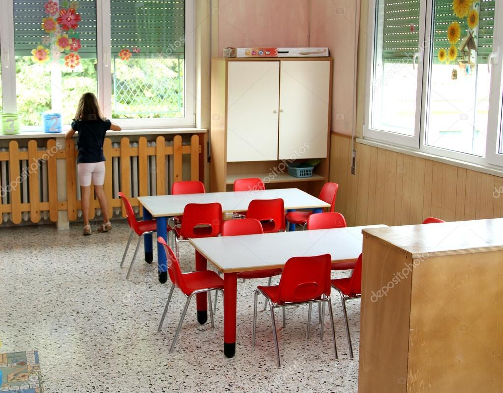Kindergarten classroom table - Classroom Table And Chairs In Kindergarten Stock Image
