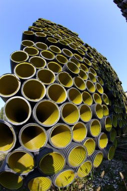Corrugated tube photographed with fisheye lens