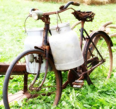 very rusty old bike of the milkman with two old milk cans with e