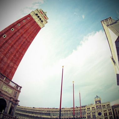 campanile of Saint Mark in Venice photographed from below