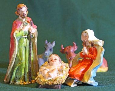 Nativity scene with baby jesus Mother Mary and joseph