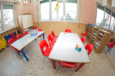 nursery with small chairs and small desks