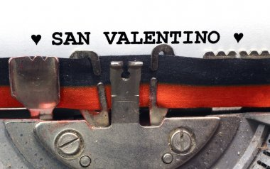 written typewriter Saint Valentine in black ink