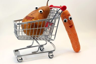 carrots pushes the shopping cart with a PEAR with eyes