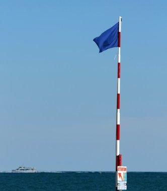 blue flag near the ocean