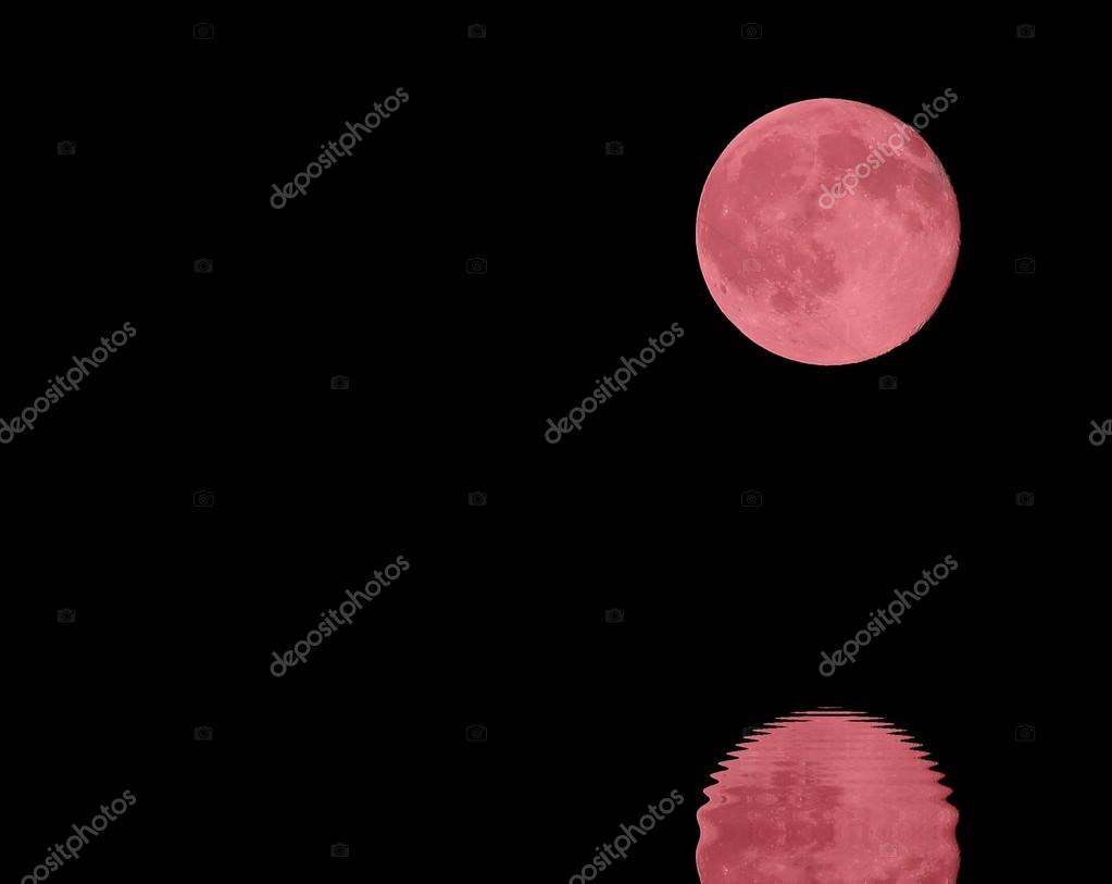 reflection on the sea of RED full moon