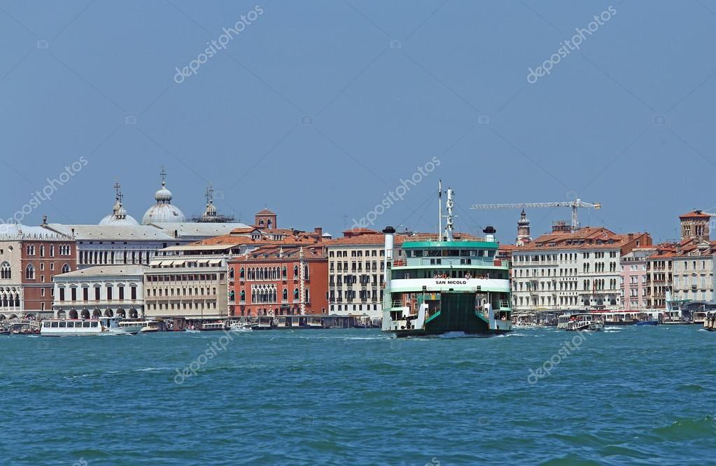 Venice, VE - Italy. 14th July, 2015: ferryboat to transport cars ...