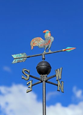 wind vane for measuring wind direction with a rooster and the ca