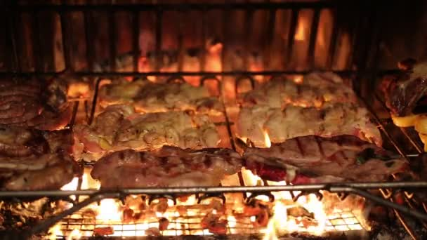 beef and pork cooked over the coals in the fireplace