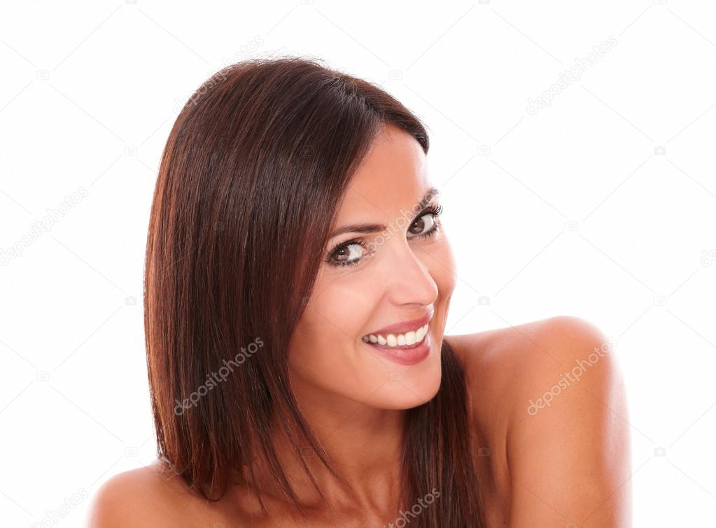 Healthy mature female smiling at camera — Stock Photo
