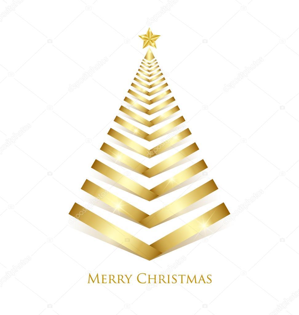 Arbol De Navidad Dorado Archivo Imagenes Vectoriales - Arboles-de-navidad-dorados