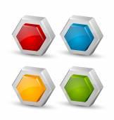 Lesklý tří dimenzionální šestihranné plástve ikony