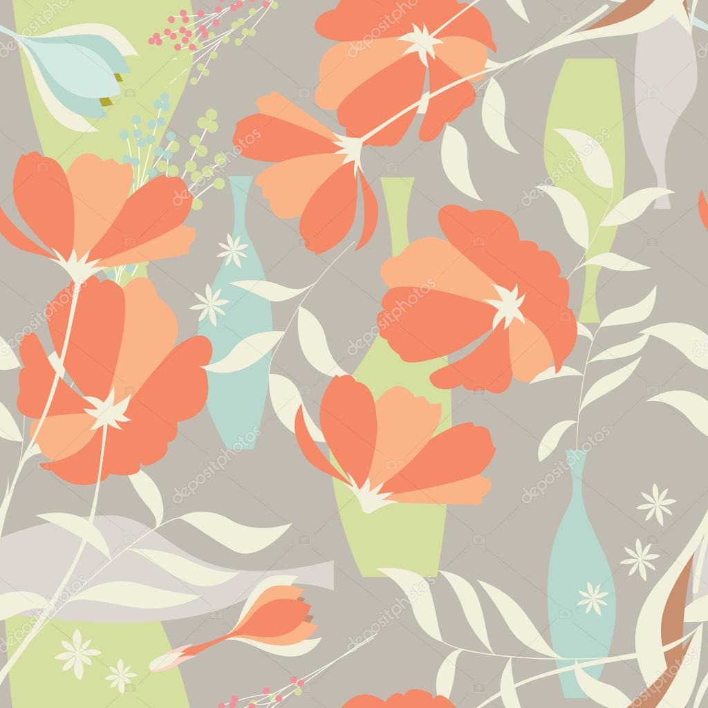 Vector seamless pattern with floral elements, spring flowers, po