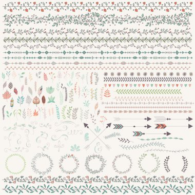 Hand drawn vintage leaves, arrows, feathers, wreaths, dividers,