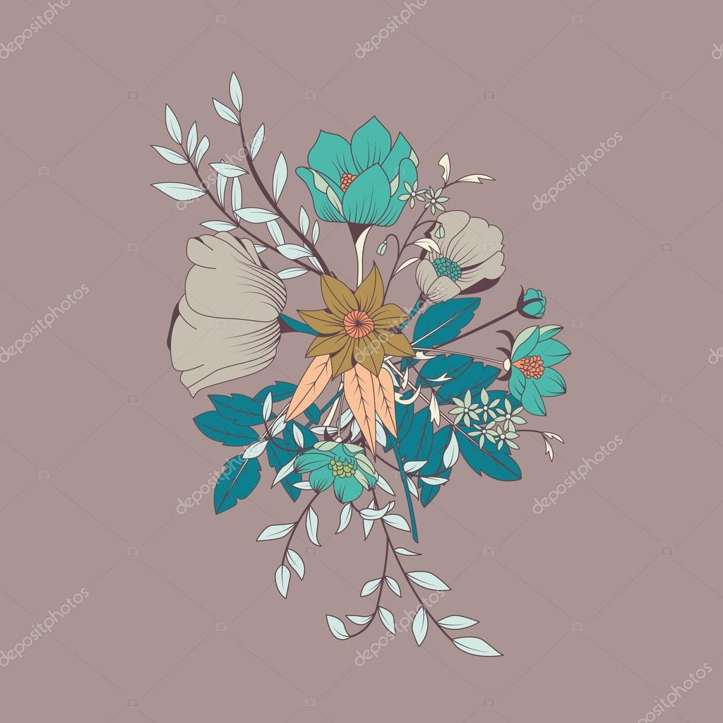 Vector flower bouquet, botanical and floral decoration hand drawn