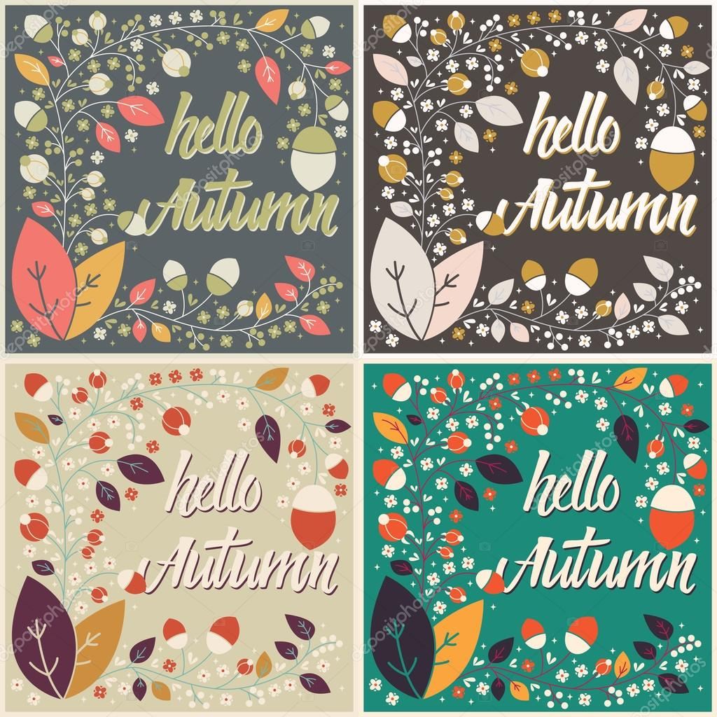 Set of autumn card designs with floral frame and message