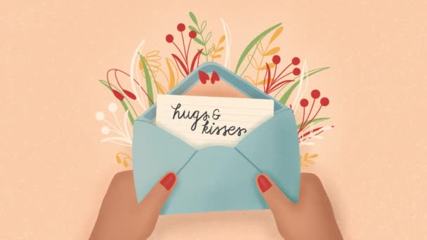 Envelope with love letter and hands. Colorful hand drawn illustration with hand lettering for Happy Valentines day. Minimal illustrated motion design loop animation.