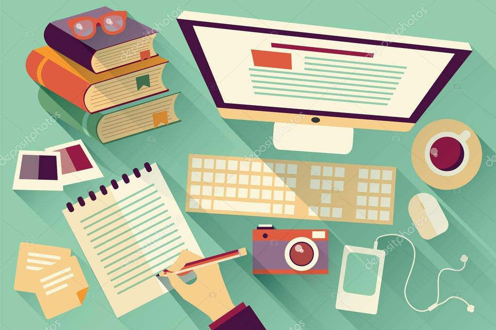 Office desk work Small Flat Design Objects Work Desk Long Shadow Office Desk Computer And Stationery Depositphotos Flat Design Objects Work Desk Long Shadow Office Desk Computer