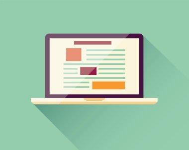 Flat icon laptop, electronic device, responsive web design, info