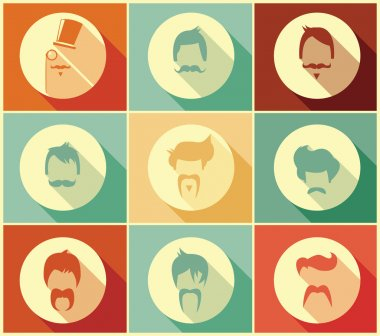 Collection of hipster retro hair styles and mustaches, vector illustration