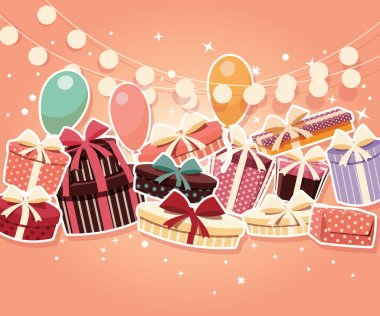 Birthday background with sticker presents and balloons
