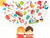 Koncepce představivosti, chlapec a dívka čtoucí knihu předměty létající
