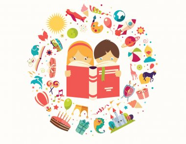 Imagination concept, boy and girl reading a book objects flying out, vector illustration