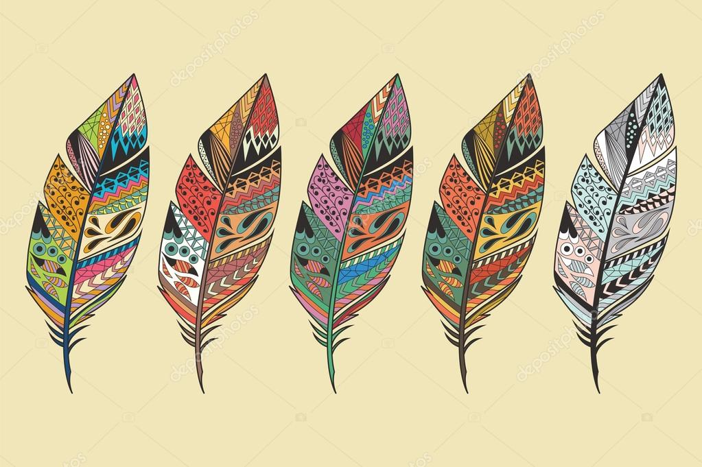 Collection of vintage tribal ethnic hand drawn colorful feathers