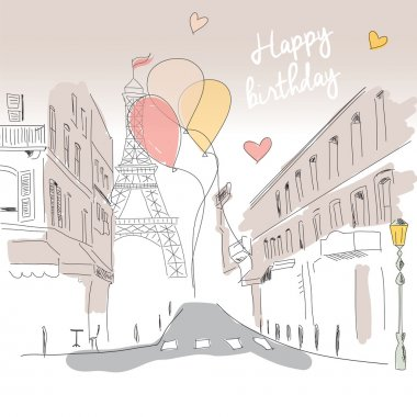 Happy birthday card from Paris street, Eiffel tower and balloons, hand drawn