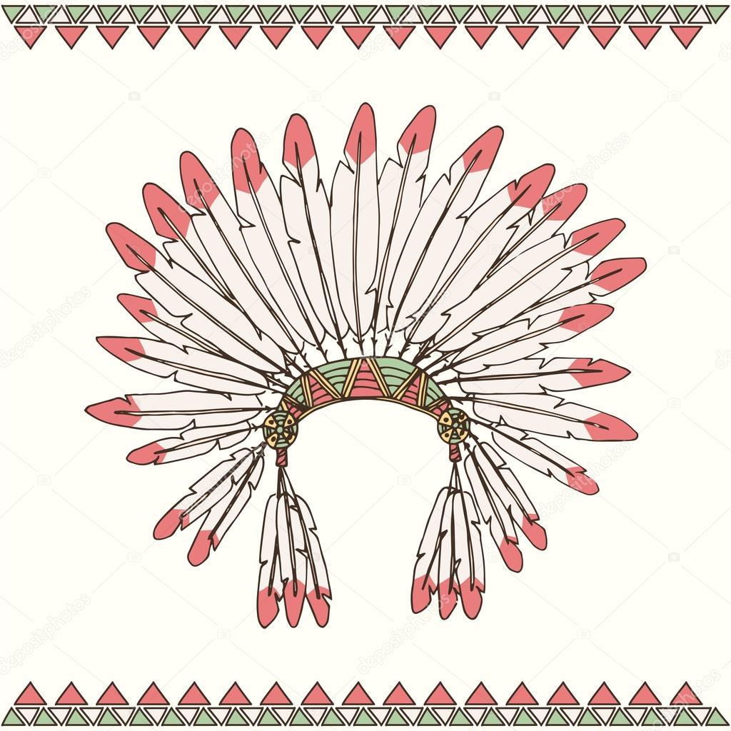 Рука витягнути американських індіанців Індійська головний убір ... de2c23af0fb55