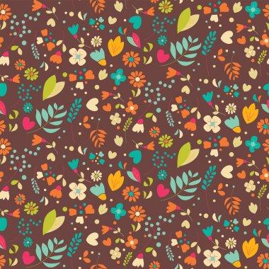 Bohemian hand drawn flowers, seamlss pattern