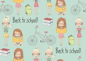 Zpátky do školy bezešvé pattern školaček, jízdních kol a b