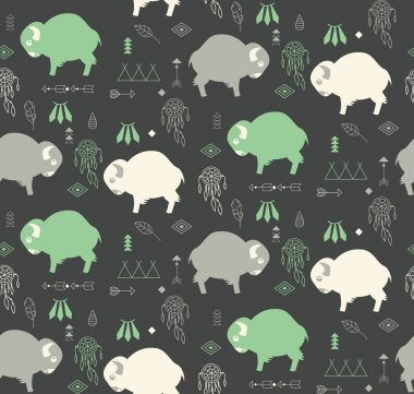 Seamless pattern with cute baby buffaloes and native American sy