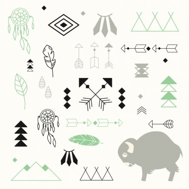 Collection of native American symbols with cute baby buffalo