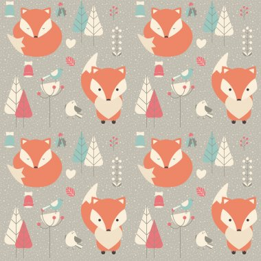Seamless pattern with cute Christmas baby fox surrounded with fl