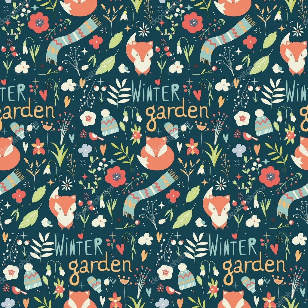 seamless pattern with winter garden flowers foxes and scarf ha