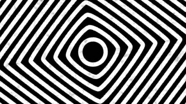 Abstrakter Bewegungshintergrund mit psychedelisch verdrehten Kreisen. Runde gestreifte schwarze weiße Linien.