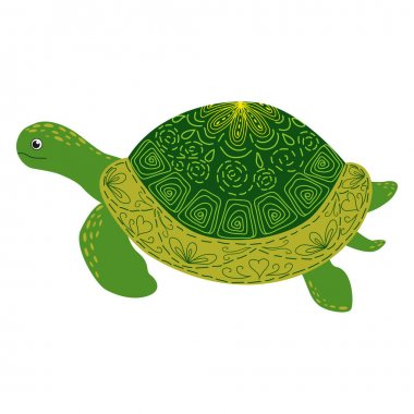 Scandinavian style green turtle with hand painted shell pattern hand drawn. icon