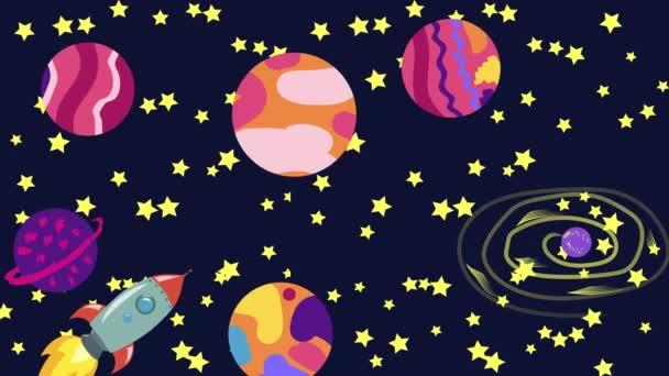 Cartoon Space. Cartoon-Rakete fliegt im Weltraum an schwebenden Planeten, Satelliten und anderen Objekten vorbei.