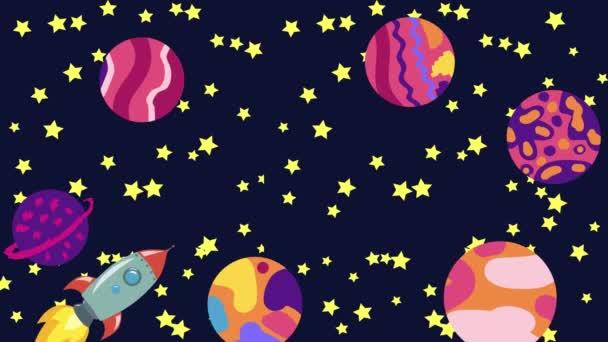 Cartoon Space. Kreslená raketa létá vesmírem kolem zavěšených planet, satelitů a dalších objektů.