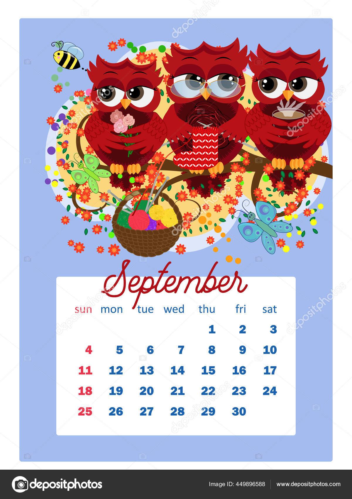Ou Calendar 2022.Calendar 2022 Cute Owls Birds Every Month Wall Vertical Calendar Vector Image By C Michiru13 Vector Stock 449896588