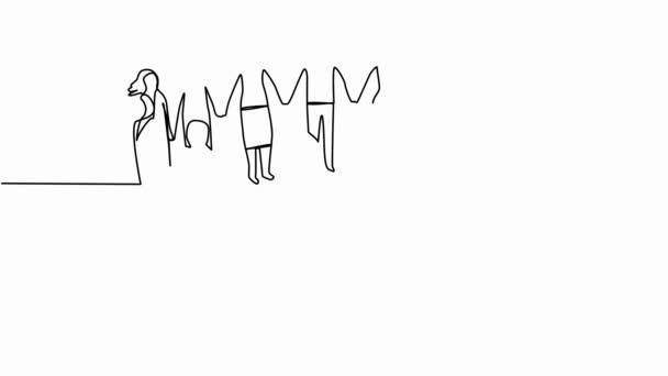 Samotná animace je kreslena souvislými lidmi nakreslenými v jedné linii, kteří se drží za ruce, ručně kreslené siluety