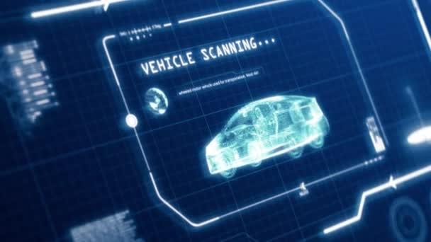 HUD fahrenden Fahrzeug Auto Spezifikation Scannen Benutzeroberfläche Computerbildschirm mit Pixeln Hintergrund. Blaues abstraktes Hologramm holographisches Technologiekonzept. Science-Fiction. 4K-Filmmaterial