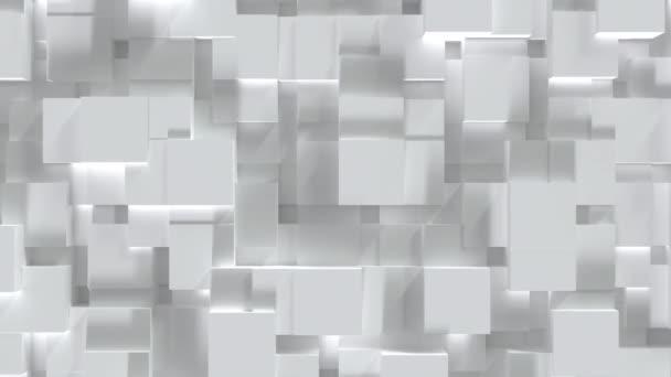 Absztrakt fehér kocka blokk véletlenszerű szinten felületen. Minimalizmus koncepció. 3D illusztráció renderelés. 4K mozgóképes videó. Zökkenőmentes hurkolás