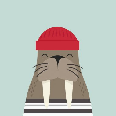Cute walrus sailor shirt with red hat icon